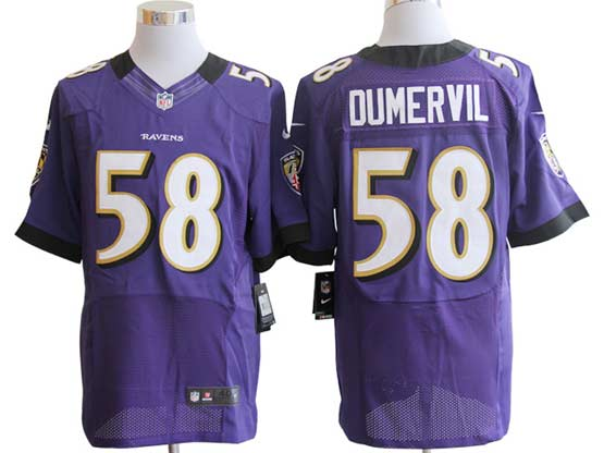 Mens Nfl Baltimore Ravens #58 Elvis Dumervil Purple Elite Jersey