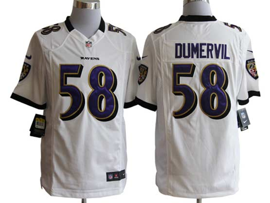 Mens Nfl Baltimore Ravens #58 Elvis Dumervil White Game Jersey