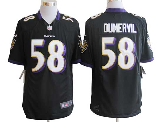 Mens Nfl Baltimore Ravens #58 Elvis Dumervil Black Game Jersey