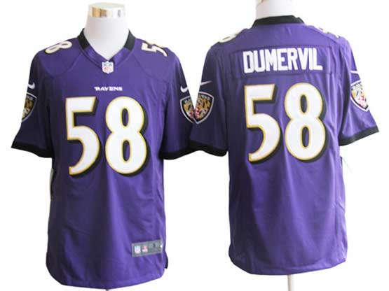 Mens Nfl Baltimore Ravens #58 Elvis Dumervil Purple Game Jersey