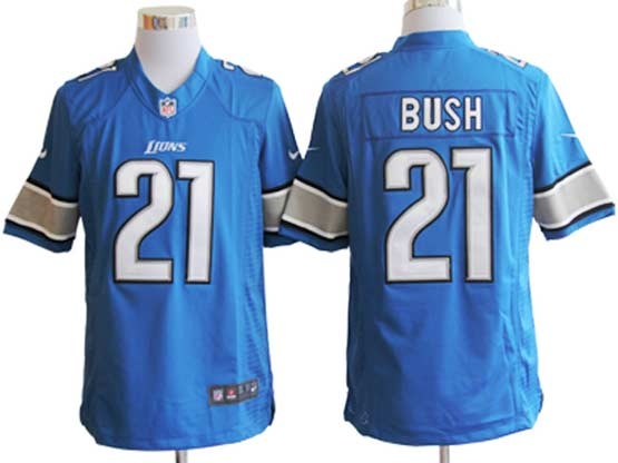 Mens Nfl Detroit Lions #21 Bush Blue Limited Jersey