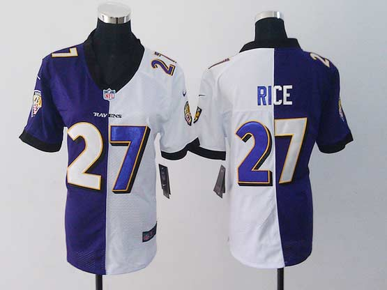 Women  Nfl Baltimore Ravens #27 Sheldon Price Purple&white Split Elite Jersey