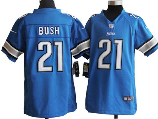 Youth Nfl Detroit Lions #21 Bush Light Blue Game Jersey