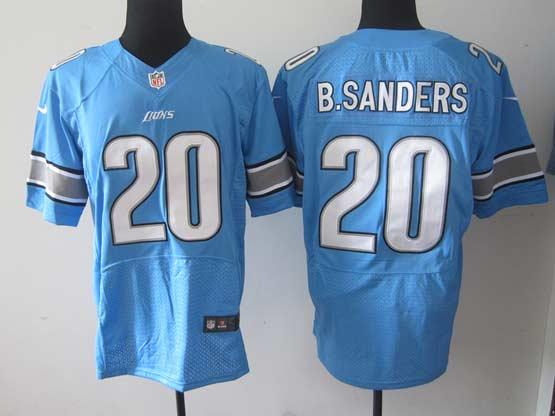 mens nfl Detroit Lions #20 Barry Sanders blue elite jersey