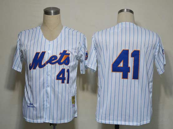 Mens mlb new york mets #41 (no name) white (blue strip) throwbacks Jersey