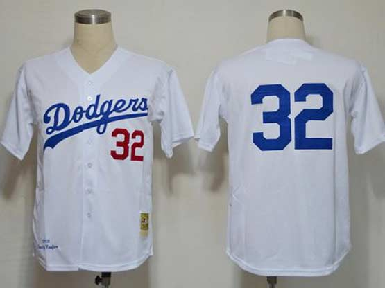 mens mlb los angeles dodgers #32 koufaxn white throwbacks Jersey (no name)