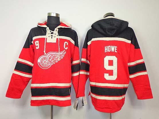 Mens nhl detroit red wings #9 howe red with c hoodie Jersey