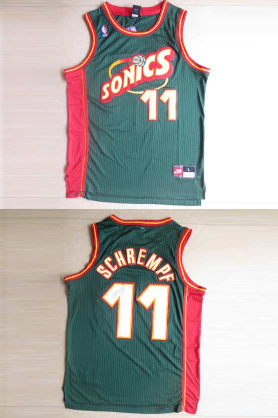 Mens Nba Seattle Supersonics #11 Schrempf Green Swingman Jersey (m)
