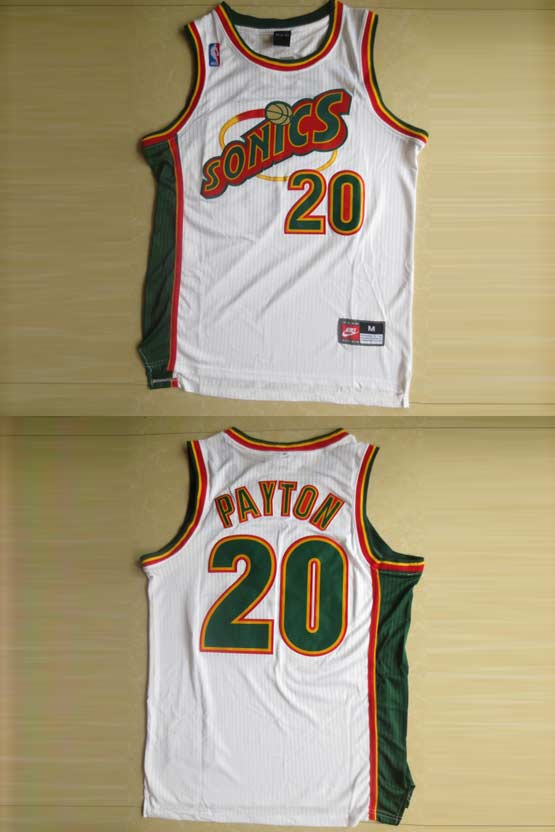 Mens Nba Seattle Supersonics #20 Payton White Swingman Jersey (m)