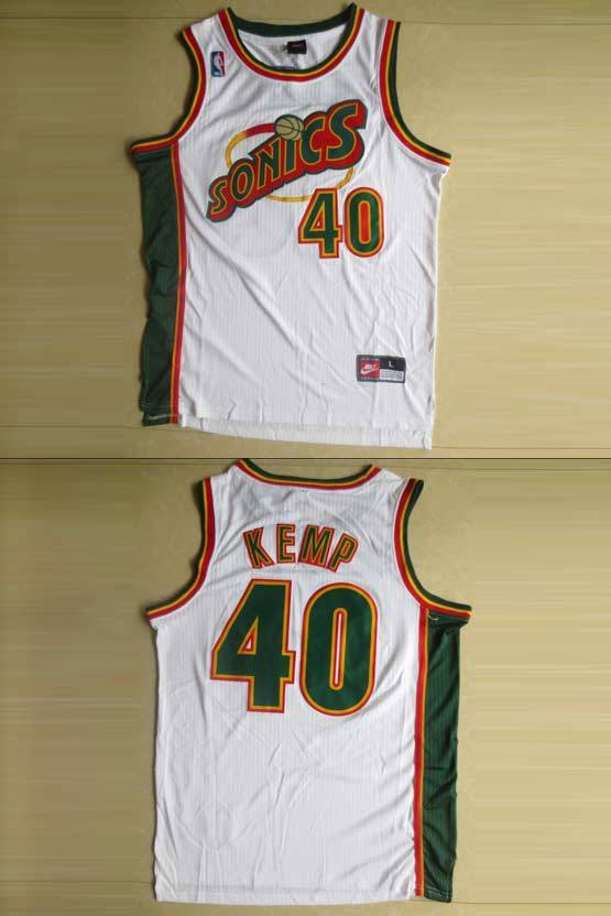 Mens Nba Seattle Supersonics #40 Kemp White Swingman Jersey (m)