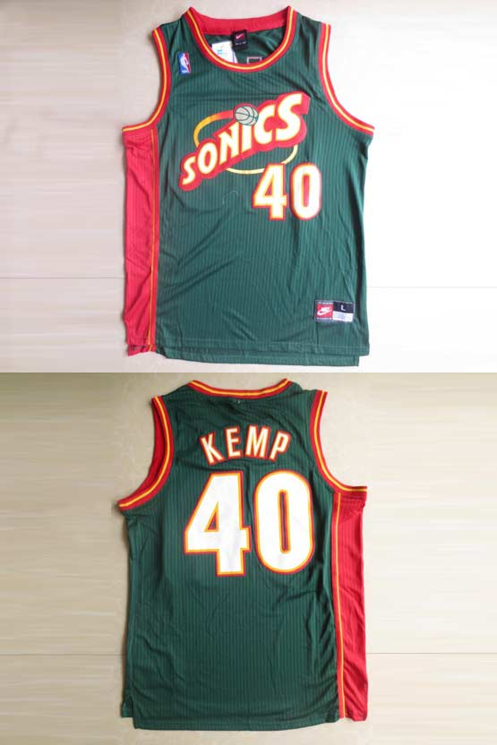 Mens Nba Seattle Supersonics #40 Kemp Green Swingman Jersey (m)