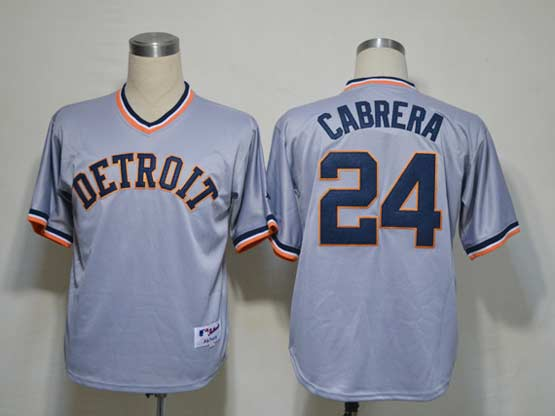Mens Mlb Detroit Tigers #24 Cabrera Gray Throwbacks Jersey