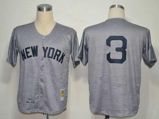 mens mlb new york yankees #3 ruth gray throwbacks Jersey(no name)