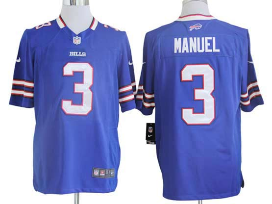 mens nfl Buffalo Bills #3 EJ Manuel light blue game jersey
