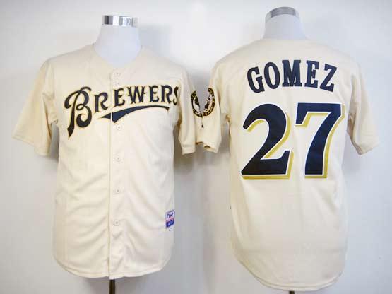 Mens mlb milwaukee brewers #27 gomez cream Jersey