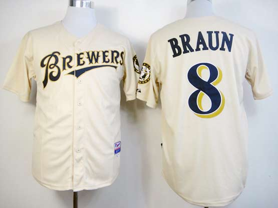 Mens mlb milwaukee brewers #8 braun cream Jersey