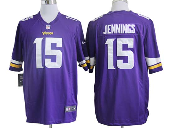 Mens Nfl Minnesota Vikings #15 Jennings (2013 New) Purple Game Jersey