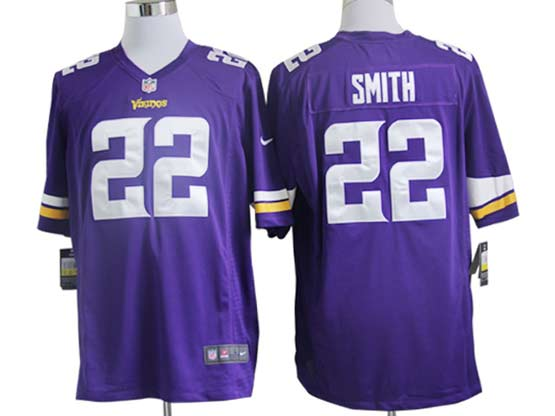 Mens Nfl Minnesota Vikings #22 Smith (2013 New) Purple Game Jersey