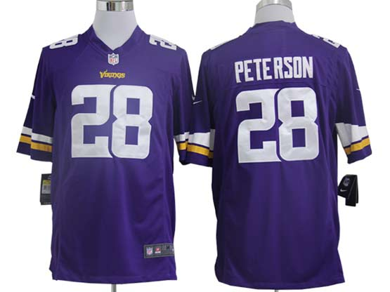 Mens Nfl Minnesota Vikings #28 Peterson (2013 New) Purple Game Jersey