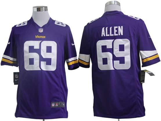 Mens Nfl Minnesota Vikings #69 Allen (2013 New) Purple Game Jersey