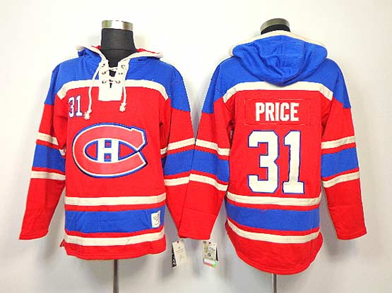 mens nhl Montreal Canadiens #31 Carey Price red hoodie jersey