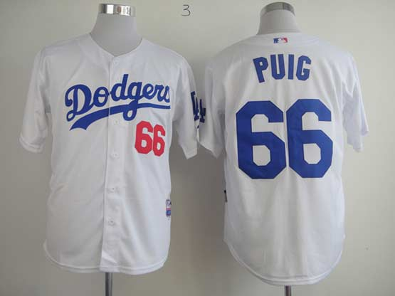 Mens mlb los angeles dodgers #66 puig white Jersey