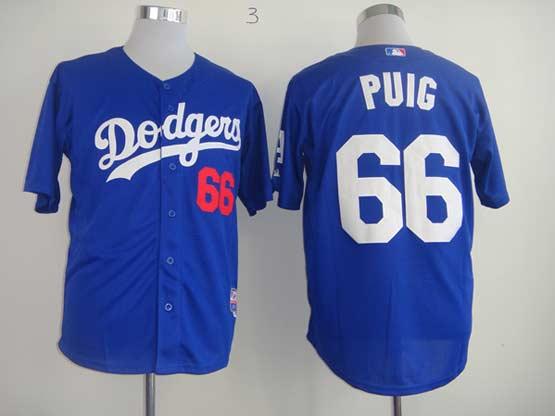 Mens mlb los angeles dodgers #66 puig blue Jersey
