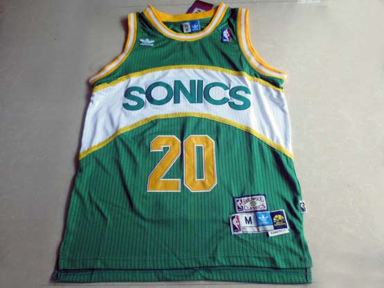 Mens Nba Seattle Supersonics #20 Payton Green Hardwood Throwback Jersesy