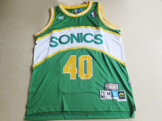 Mens Nba Seattle Supersonics #40 Kemp Green Hardwood Throwback Jersesy