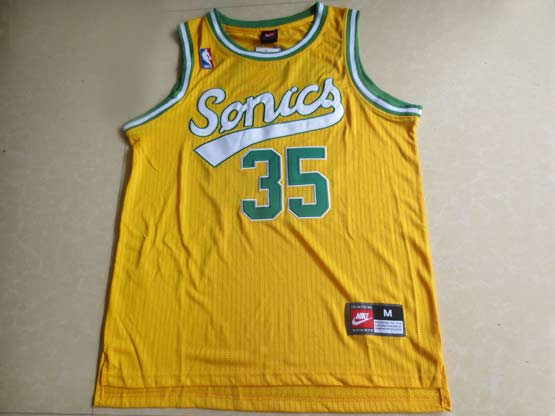 Mens Nba Seattle Supersonics #35 Durant Full Yellow Jersey (m)