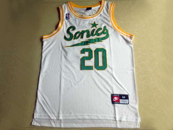 Mens Nba Seattle Supersonics #20 Payton Full White Jersey (m)