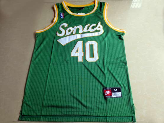 Mens Nba Seattle Supersonics #40 Kemp Full Green Jersey (m)