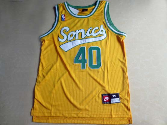 Mens Nba Seattle Supersonics #40 Kemp Full Yellow Jersey (m)