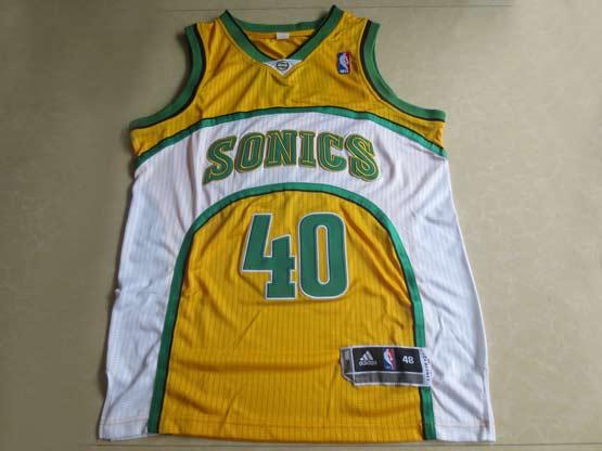 Mens Nba Seattle Supersonics #40 Kemp Yellow Adidas Mesh Jersey