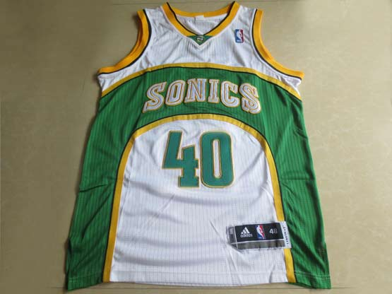 Mens Nba Seattle Supersonics #40 Kemp White Adidas Mesh Jersey