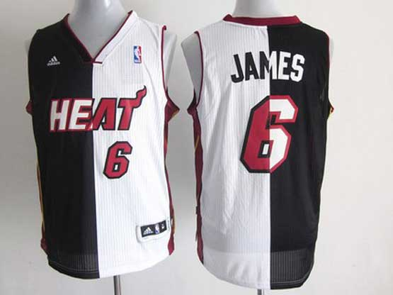 Mens Nba Miami Heat #6 James Split Black&white Mesh Jersey