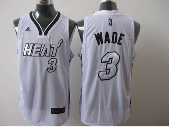 Mens Nba Miami Heat #3 Wade White (white Number) Revolution 30 Jersey (p)