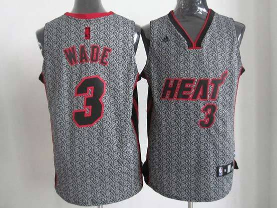 Mens Nba Miami Heat #3 Wade Gray Game Player Jersey