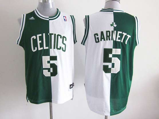 Mens Nba Boston Celtics #5 Garnett Split White&green Mesh Jersey