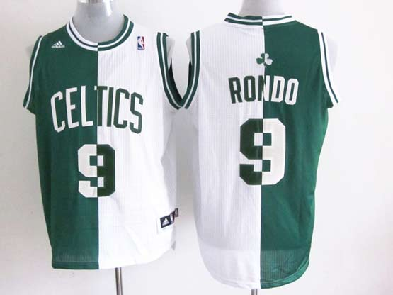 Mens Nba Boston Celtics #9 Rondo Split White&green Mesh Jersey