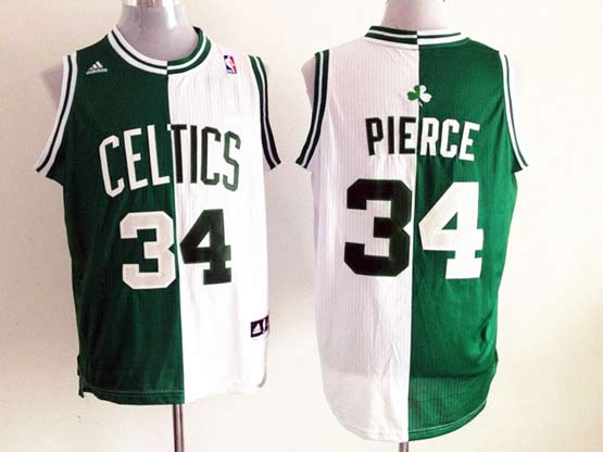 Mens Nba Boston Celtics #34 Pierce Split White&green Mesh Jersey