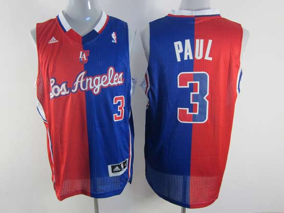 Mens Nba Los Angeles Clippers #3 Paul Split Blue&red Mesh Jersey