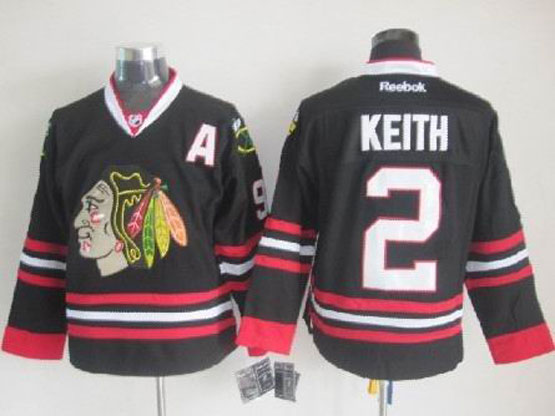 Mens reebok nhl chicago blackhawks #2 keith full black a patch Jersey