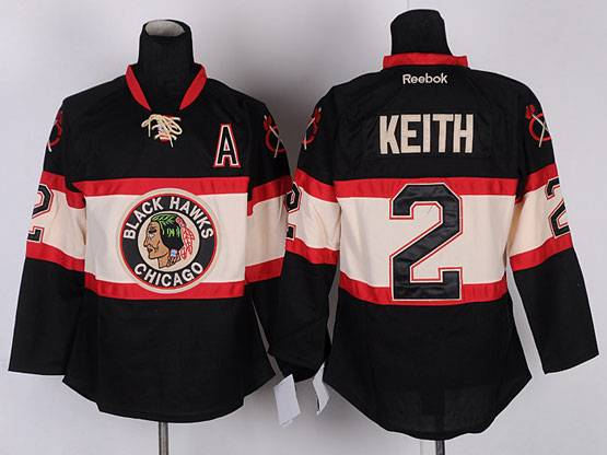 Mens reebok nhl chicago blackhawks #2 keith black (new third) a patch Jersey