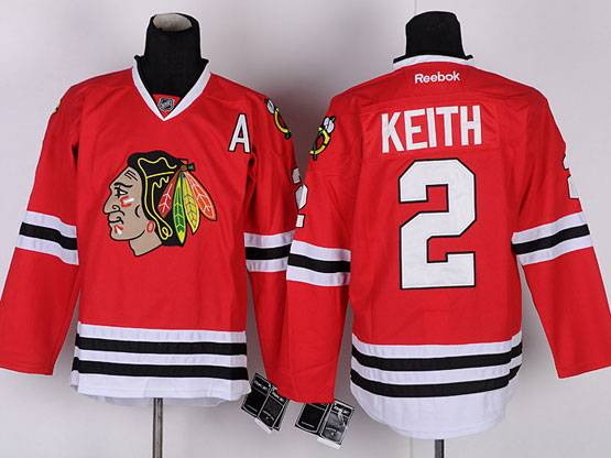 Mens reebok nhl chicago blackhawks #2 keith red a patch Jersey
