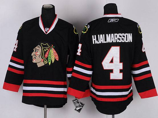Mens reebok nhl chicago blackhawks #4 hjalmarsson full black Jersey
