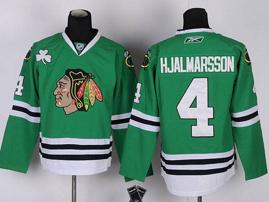 Mens reebok nhl chicago blackhawks #4 hjalmarsson green Jersey