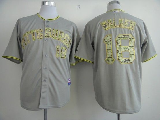 Mens Mlb Pittsburgh Pirates #18 Walker Gray Camo Number Jersey
