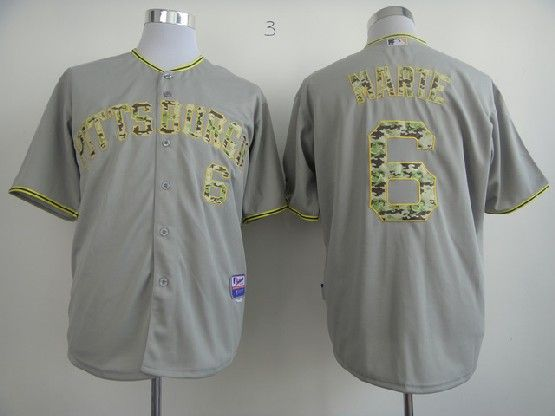 Mens Mlb Pittsburgh Pirates #6 Marte Gray Camo Number Jersey