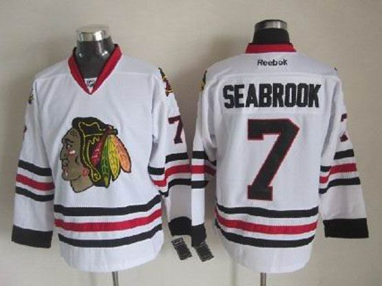 Mens reebok nhl chicago blackhawks #7 seabrook white Jersey